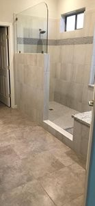 Walk in shower with bench remodel